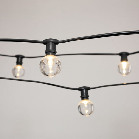 Commercial LED Edison Drop String Lights, 100 Ft Black Wire, S14, Warm White
