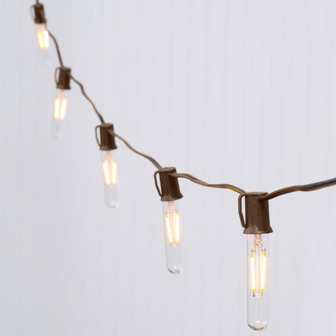 Globe String Lights, Constellation S8 LEDs, 100ft Brown C9, Warm White