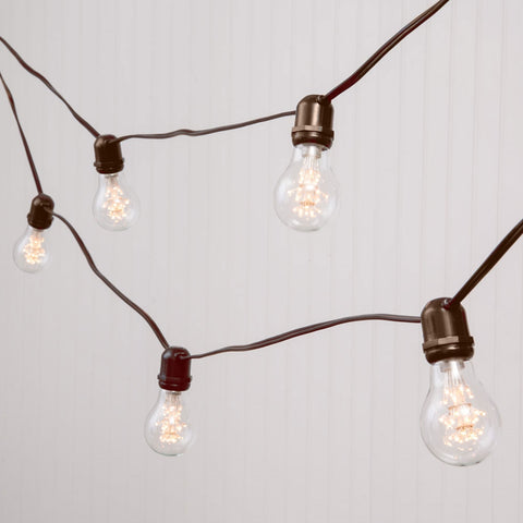 Commercial LED Edison Drop String Lights, 105 Ft Brown Wire, S14, Cool White