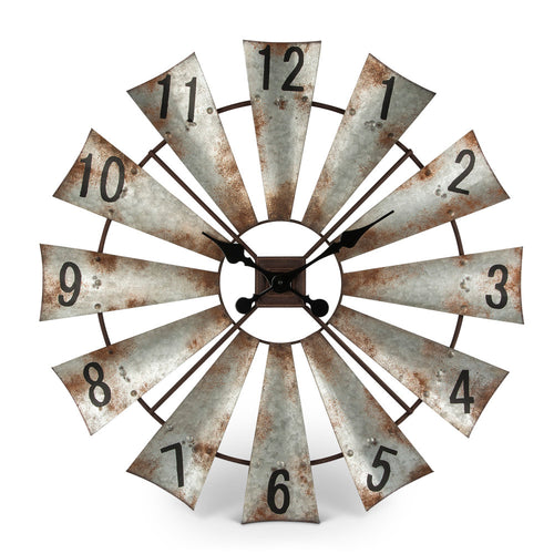 Rustic, Antique-styled Windmill Wall Clock with Hours of the Day on the Fans