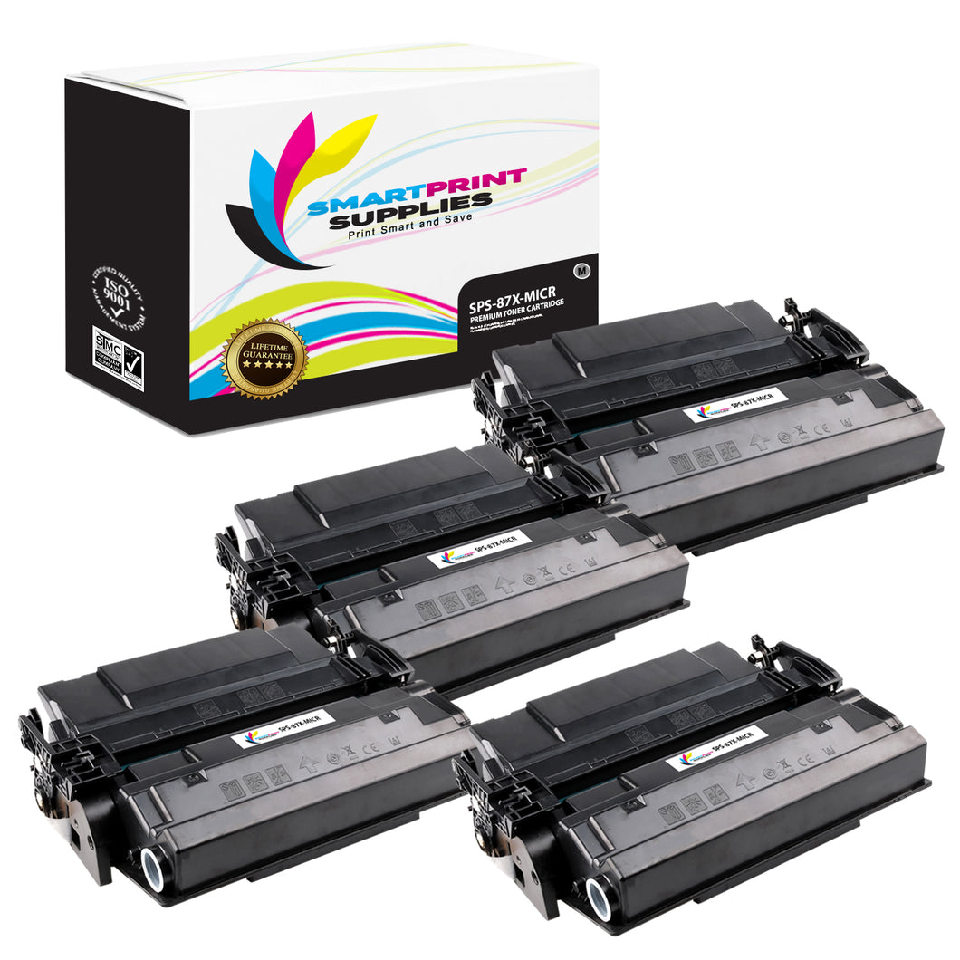 4 Pack HP 87X CF287X Replacement Black High Yield MICR Toner Cartridge by Smart Print Supplies