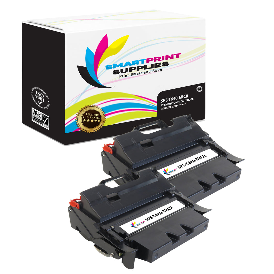 2 Pack Lexmark T640 Replacement Black MICR Toner Cartridge by Smart Print Supplies