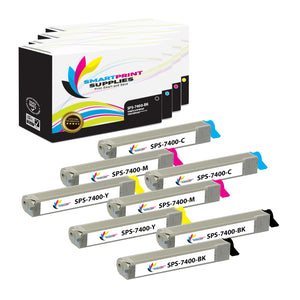 8 Pack Xerox Phaser 7400 4 Colors Toner Cartridge Replacement By Smart Print Supplies