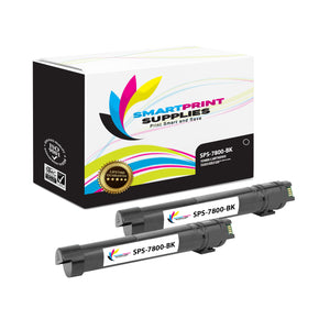 2 Pack Xerox Phaser 7800 Black Toner Cartridge Replacement By Smart Print Supplies