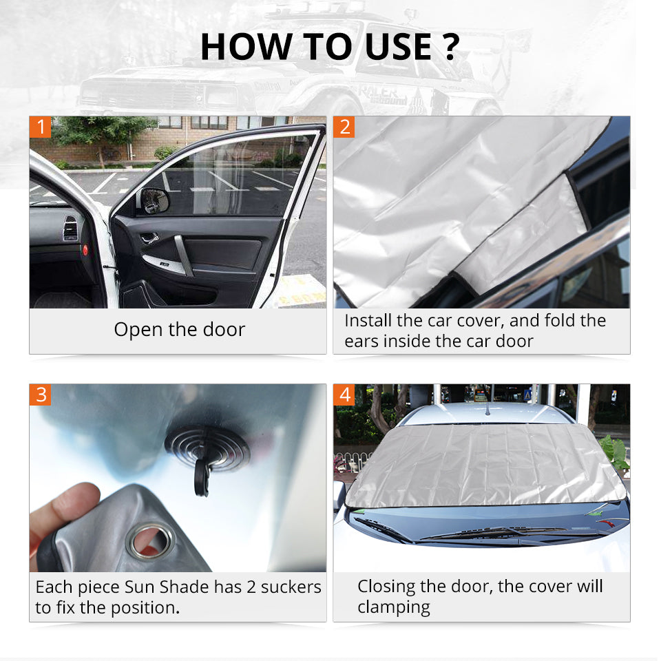 Partol Universal Fit Automobile Sunshade Cover Snow Ice Shield for Windshield Winter Summer Car Front Window Windscreen Covers