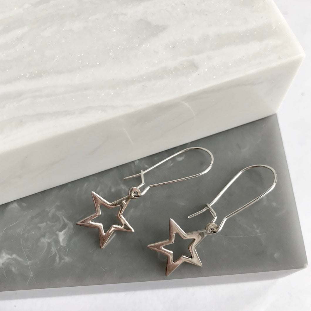 Sterling Silver Star Drop Earrings