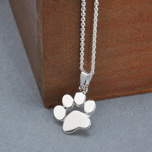 Paw Footprint Silver Color Pendant Necklace