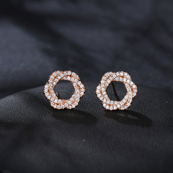 Round Hollow Flower Gold Color Earring