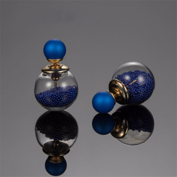 Double Ball Glass Bead Blue Earring