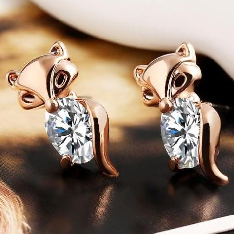 Fox Rose Gold Rhinestone Ear Stud