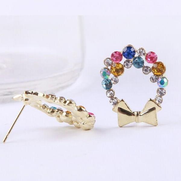 Colorful Rhinestone Bow Vintage Earring