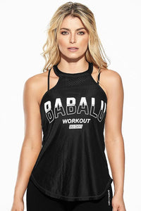 Black Polyamide Women's Workout Blouse