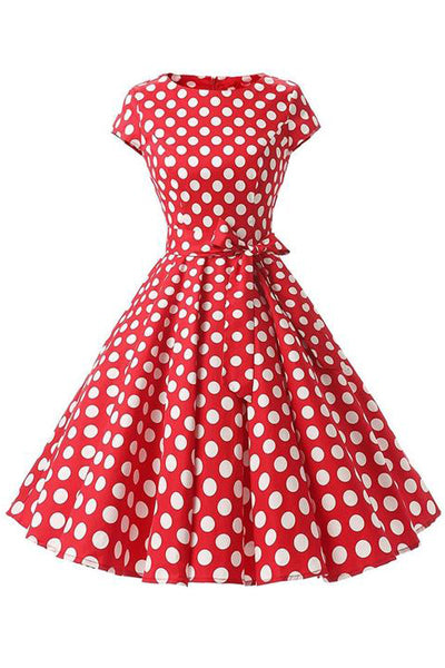 Retro Pin Up Polka Dot Kleid rot-weiß