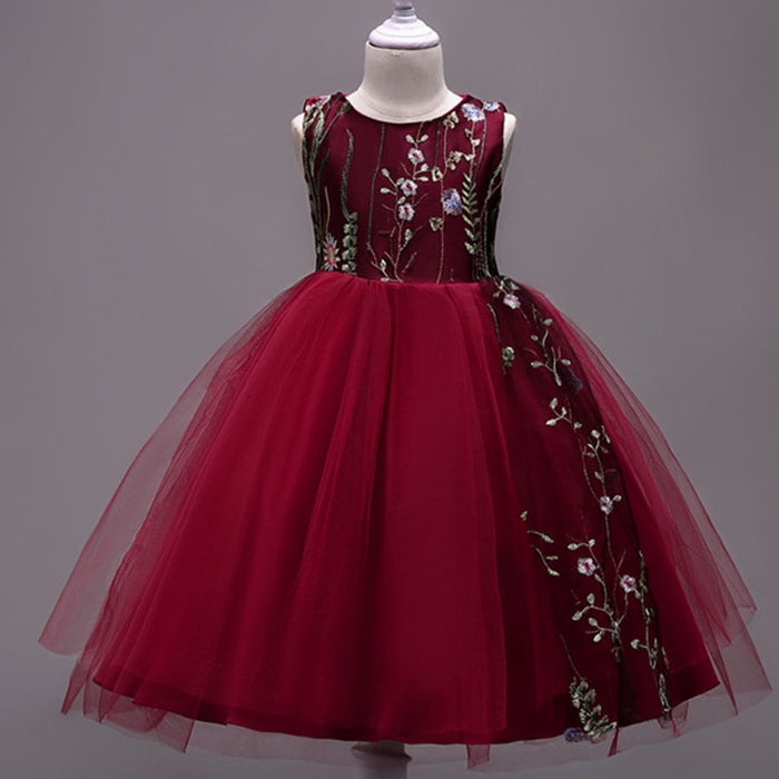Teens Party Prom Dress Lace Wedding Flower Girl Dresses Kids Girls Elegant Princess Sleeveless Pageant Formal Dress