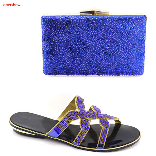 Ladies Italian Nigerian Women Wedding Shoes and Bag Set hot sale