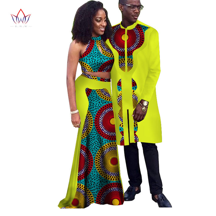Africa Style Couple Clothes New Fashion Spring 2018 African Dresses for Sweet Lover Dashiki Plus Size Africa Clothing afcol7