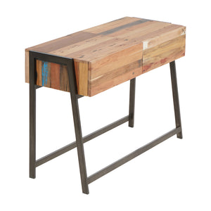 Modern Salvaged Boat Wood Console Table, 2 Drawers - SUN Collection - Impact Imports