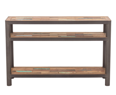 Modern Salvaged Boat Wood & Steel Console Table, 3 Shelf Tops - OCEAN Collection - Impact Imports