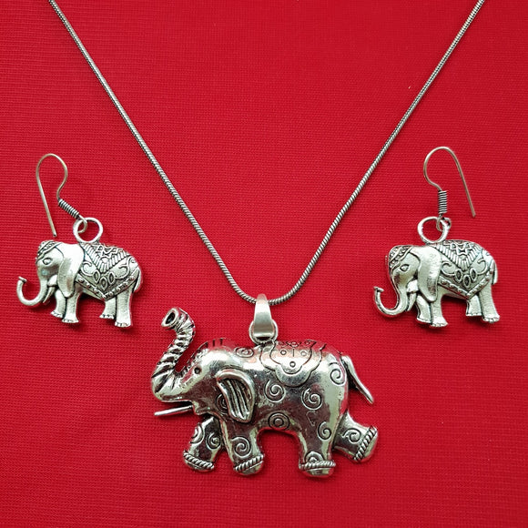 Imeora Elephant Pendant with Earrings