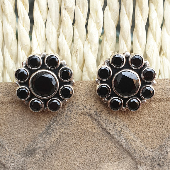 925 Silver Black Onyx Floral Studs