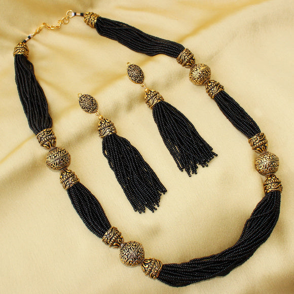 Imeora Black Beaded Imperial Necklace Set