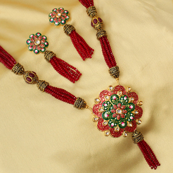 Imeora Red Beaded Floral Enamel Necklace Set