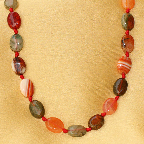 Imeora Oval Multicolor Knotted Agate Necklace