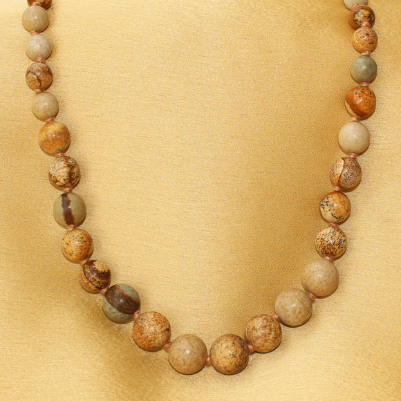 Imeora Knotted Picture Jasper Stone of Global Awareness Necklace