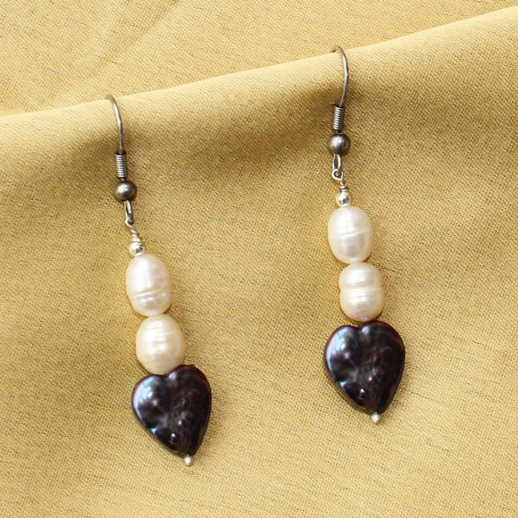 Imeora Real Pearl Blue Heart Earrings