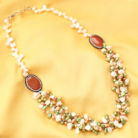 Imeora Twin Oval Brooch Multicolor Pearl Necklace