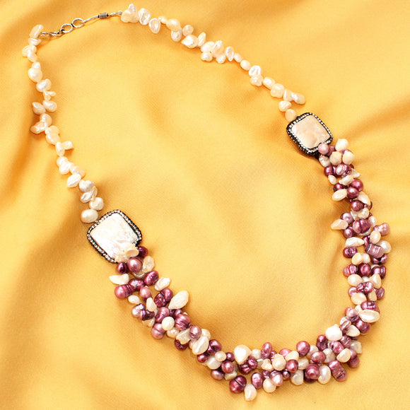 Imeora Twin Brooch White Purple Pearl Necklace