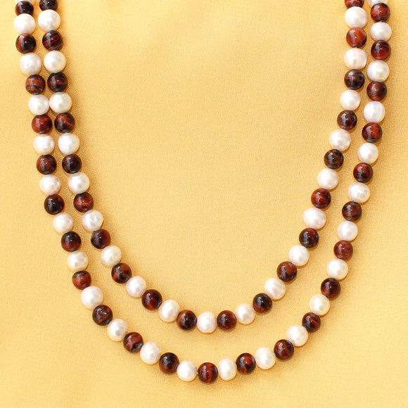 Imeora Pearl And Red Tiger Stone Double Line Necklace