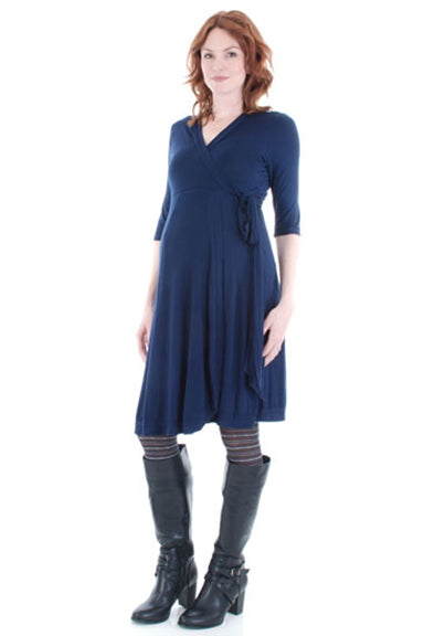 Everly Grey Kaitlyn Black Wrap Maternity Dress - tummystyle.com