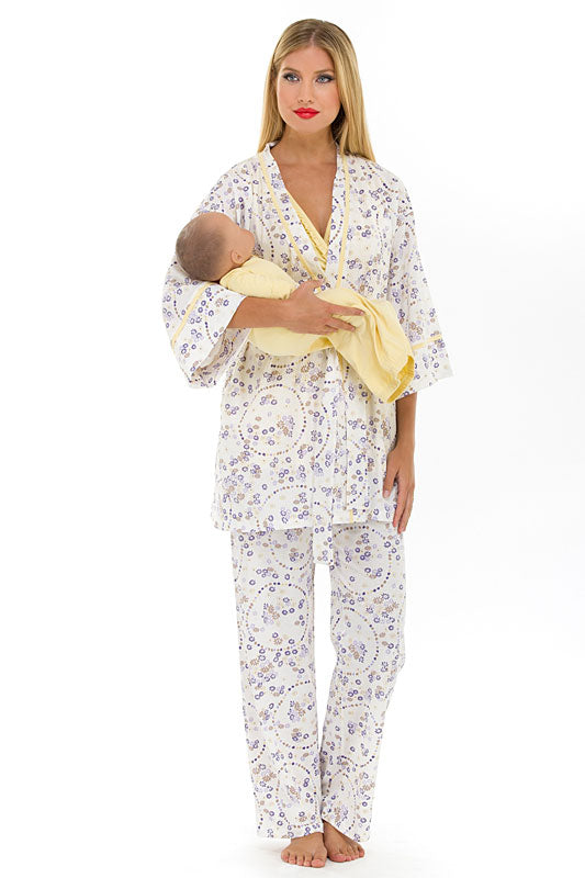 Olian Maternity Yellow Flowers Nursing Pajama Set
