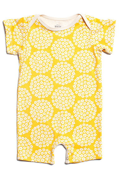 Winter Water Factory Baby Romper Yellow Flower Dots