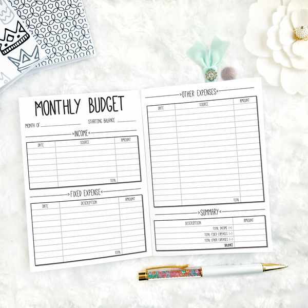 Undated Doodle V2 All Inclusive Monthly Planning Insert | Printed