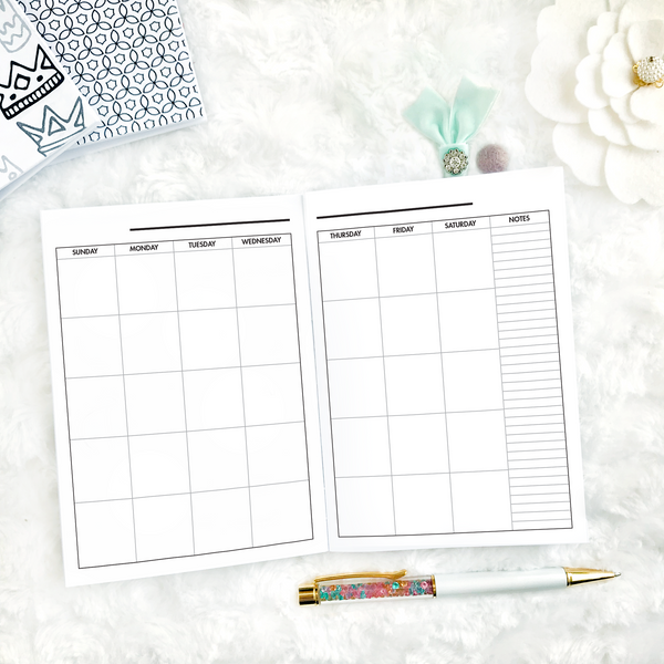 Undated All Inclusive Monthly Planning Insert | Printed