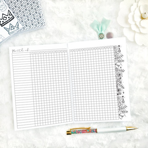 Monthly Floral Habit Tracking | Printed