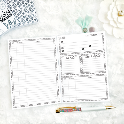 Pen Pal Tracker | Printed