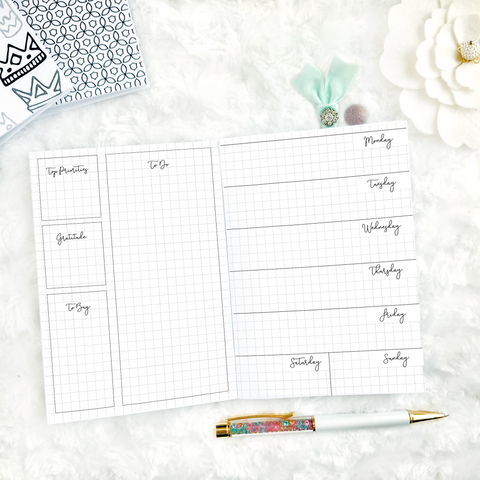 Undated Weekly Horizontal Graph Half Box Spread | Printed