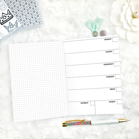 Undated Weekly Horizontal Half Grid Spread | Printed