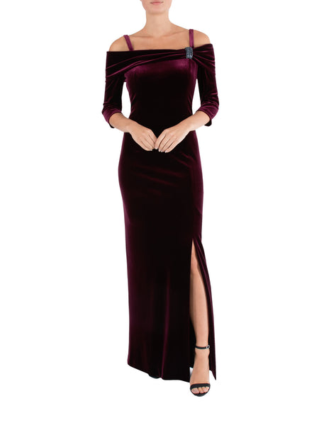 Plum Velour Cold Shoulder Gown