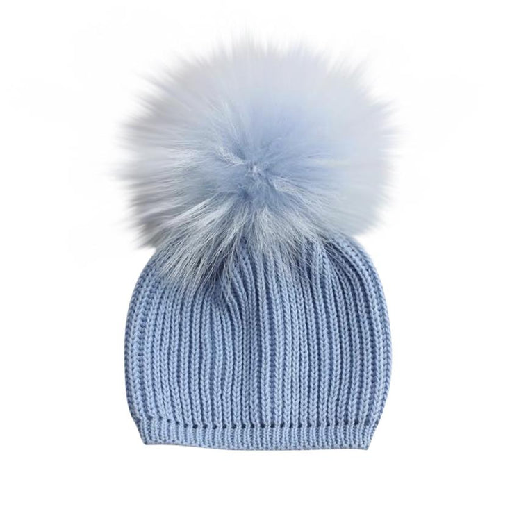 NEW BABY PALE BLUE SINGLE POM POM HAT
