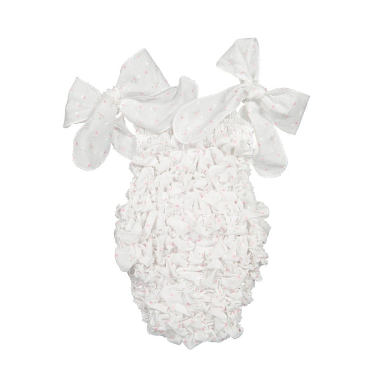 COTTON PLUMETTI SWIMSUIT - WHITE FRILL