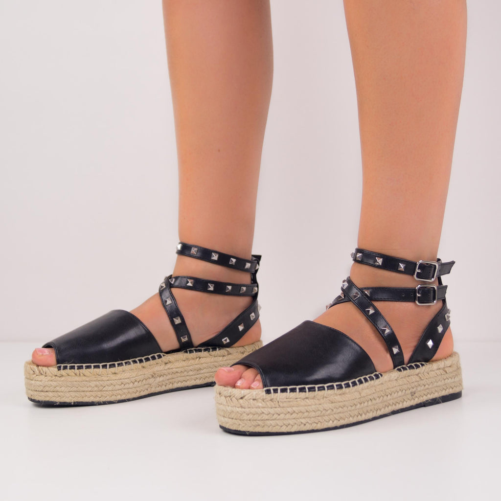 MINDY BLACK ESPADRILLES WITH LACES AND STUDS