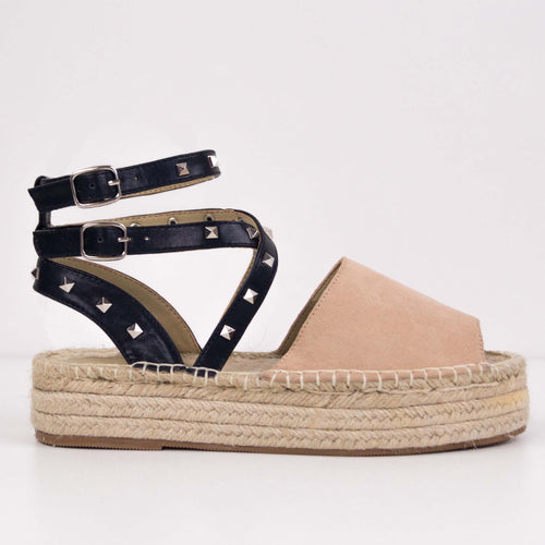 MINDY NUDE ESPADRILLES WITH LACES AND STUDS