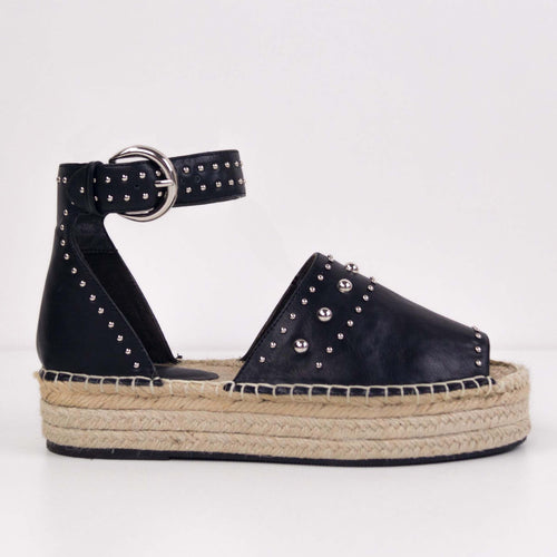 NADYA BLACK ESPADRILLES WITH STUDS