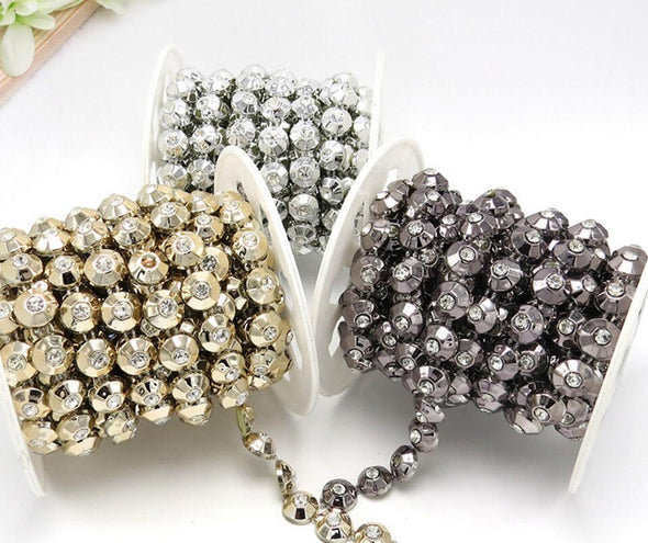 20 Yards Gold/Silver/Black Flatback Beads Crystals Beaded Chain Trim For Sewing