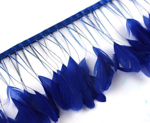 10yards/lot 8-10inch(20-25cm) Royal Blue Striped Chicken Tail Feathers Trim