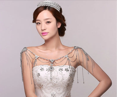 Romantic Luxury Crystal Wedding Bridal Chain Necklace